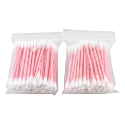 Cosmetic Removing Pink Plastic Tube Cotton Tip Swab Buds Ear Picks 110 Pcs