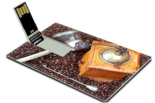 Liili 32GB USB Flash Drive 2.0 Memory Stick Credit Card Size above view of retro manual coffee grinder and copper pot roasted coffee beans Photo 24414440 Simple Snap Carrying (Usb Coffee Grinder compare prices)