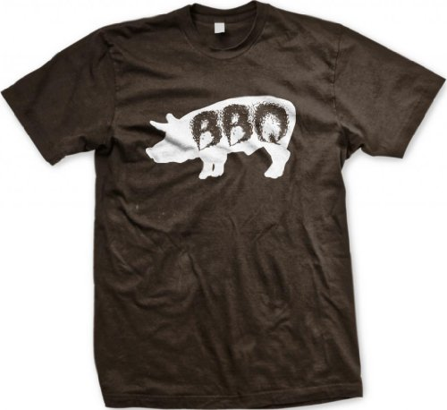 Pig BBQ Men'S T-Shirt, Funny Barbecue Bar-B-Que Pig Design Men'S Tee (Brown, X-Large)