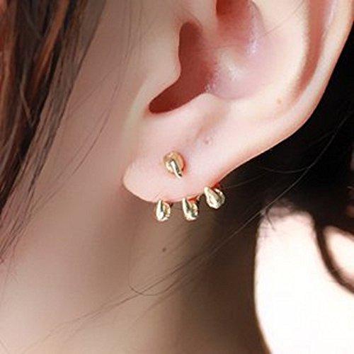ノーブランド品 ドラゴンの爪ピアス 龍の爪タイプ2個セット両耳用 耳飾り ゴールド G