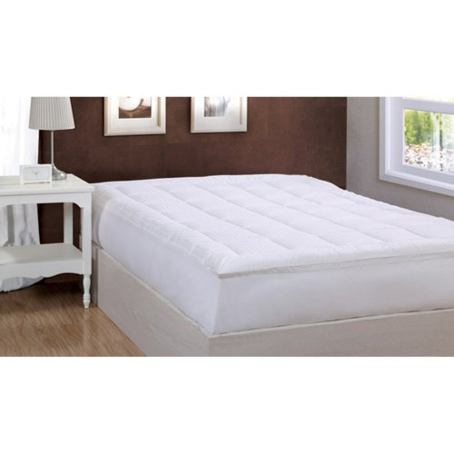 Damask Stripe Pillowtop Mattress Pad Size: Twin