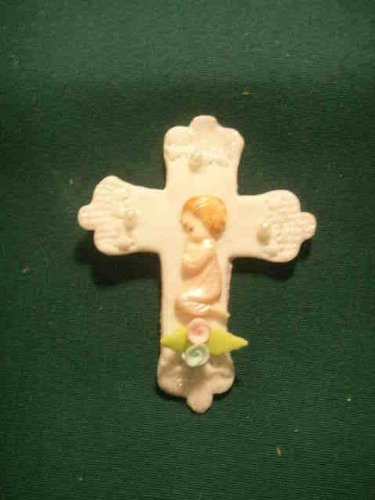 6 Pieces Cold Porcelain Trinket Cross Cake Deco Capia Baby Shower Favor - Girl front-994483