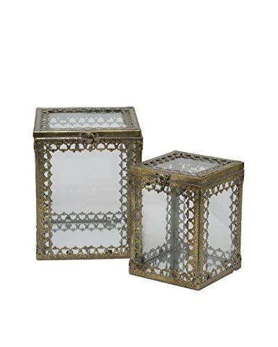 Three Hands Set of 2 Metal Boxes, Gold