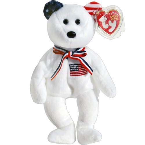 America 911 Memorial White Teddy Bear - Ty Beanie Babies - 1