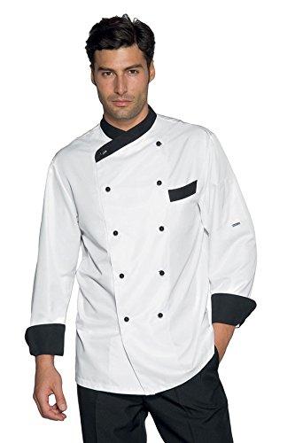 Isacco-Giacca cuoco Giza, colore: bianco/nero bianco XL