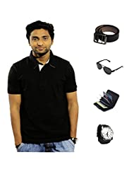 Garushi Black T-Shirt With Watch Belt Sunglasses Cardholder - B00YMLBTNU