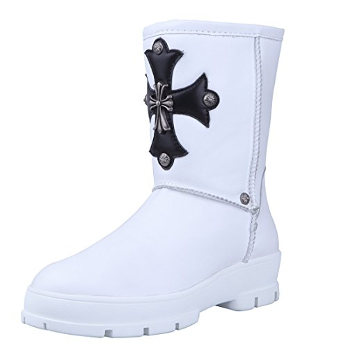 Women'S Waterproof Cowhide Leather High Snow Boots Chrome Hearts