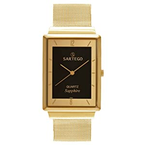Men's Square Goldtone Sartego Seville Watch Black Dial