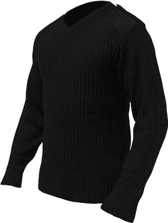 Mens Medium Military Pullover Black V Neck Jumper
