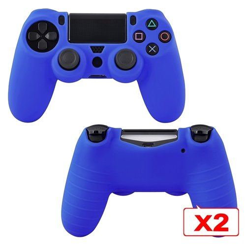 CommonByte 2x Blue Silicone Controller Case For Sony PlayStation PS4