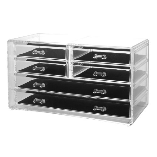 Us Acrylic® Deluxe 6-Drawer Acrylic Jewelry Chest Or Cosmetic Organizer With Removable Drawers And Liners
