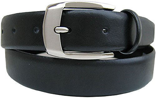 """Belt By Ardente, Made in Italy, Black, Two-Tone Nickel Silver Buckle, 30mm. (App. 1¼"""") Wide - Style 17263, 38"""""""