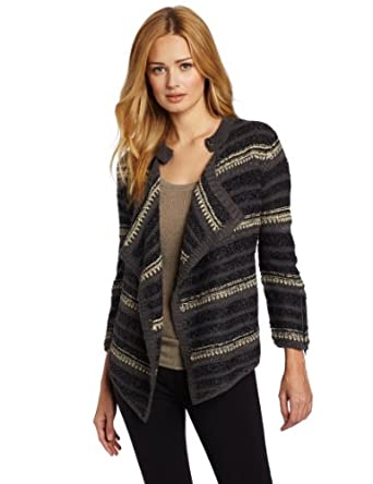 Calvin Klein Jeans Women's Bella Boucle Cardigan Sweater, Black, X-Small