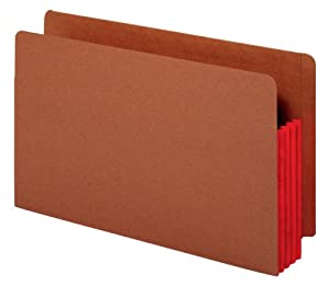 Globe-Weis End Tab File Pockets, 3.5-Inch Expansion, Red Tyvek Gussets, Brown Cover, Legal Size, 10 Pockets Per Box (84686)