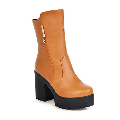balamasa-girls-platform-chunky-heels-metal-ornament-zipper-yellow-patent-leather-boots-25-uk