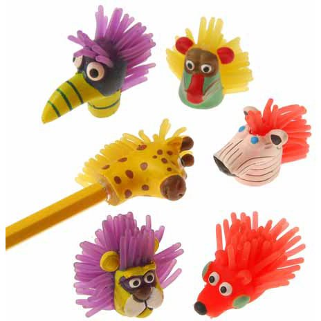 "US Toy - Wild Animal Pencil Toppers,1 1/2""T (12 Assorted Pack)"