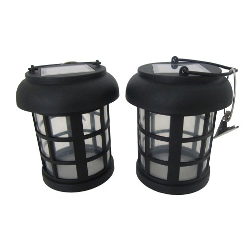 2-pack Black Umbrella Hanging Solar Lanterns By Smart Solar