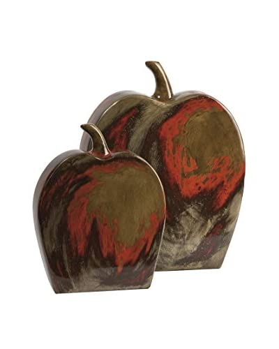 Set Of 2 Lancaster Apples Mexican Pottery, Multi