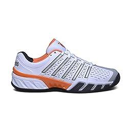K-Swiss Men\'s Bigshot 2.5 Tennis Shoe (White/Black/Orange) (13 D(M) US)