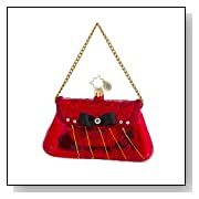 RADKO EVERYTHING SHE NEEDS Purse Red with Black Bow Christmas Glass Ornament