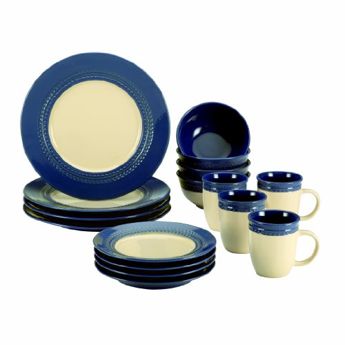 Paula Deen Signature Dinnerware Southern Gathering Collection 16-Piece Dinnerware Set, Blueberry