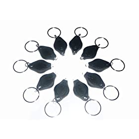 10 X LED MINI MICRO BLACK KEYCHAIN KEY RING SUPER FLASH BRIGHT FLASHLIGHT WHITE LIGHT
