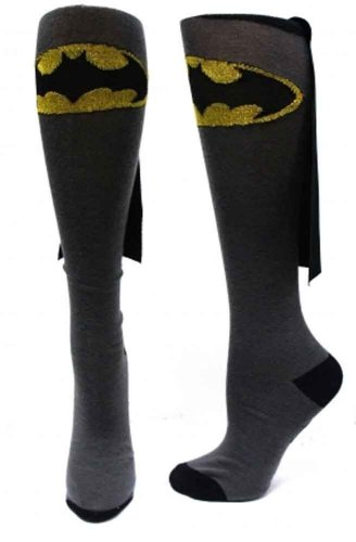 Batman Glitter Logo DC Comics Superhero Cape Knee High Socks