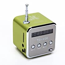 TD-V26 Portable Mini Digital Speaker with Micro SD / TF / USB /FM (Green)