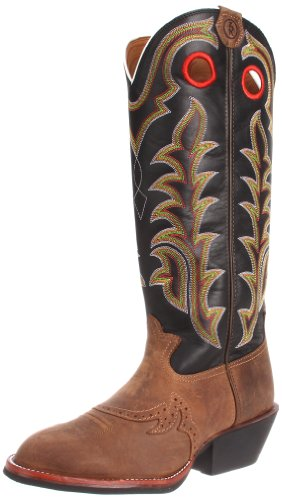 Tony Lama Boots Men's RR1002 Boot,Tan Crazy Horse/Black Baron Calf,11.5 D US