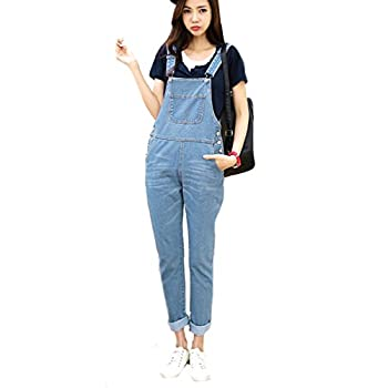 ASL Women's Vintage Pocket Cute Loose Jeans Suspender Trousers L Sky blue