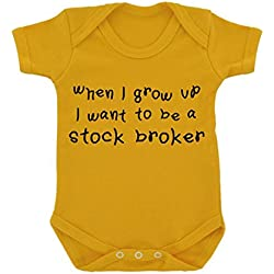 When I Grow Up...A Stock Broker Baby Bodysuit Sunflower Yellow with Black Print