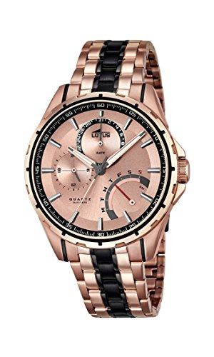 Lotus Men's Quartz Watch with Rose Gold Dial Analogue Display and Two Tone Stainless Steel Plated Bracelet 18204/1