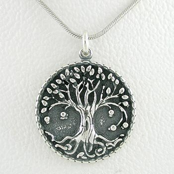 Sterling Silver Round Tree of Life Pendant on 18 inch Rhodium Snake Chain