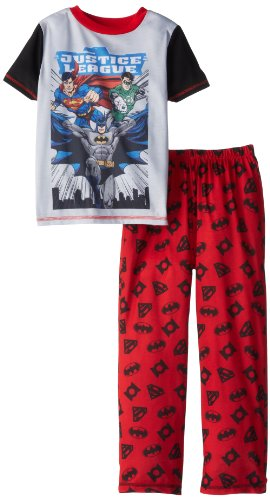 Komar Kids Big Boys' Justice League 2 Piece Sleepwear Set, Red, Medium