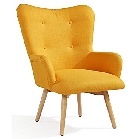 Iris fauteuil nordique en tissu effet lin jaune