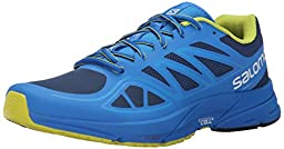Salomon Men\'s Sonic Aero Running Shoe, Midnight Blue/Bright Blue/Gecko Green, 13 D US