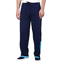 Aventura Outfitters Single Jersey Trackpant Navy Blue With Half Sky Blue Stripes and Two Piping - M (AOSJTP519-M)