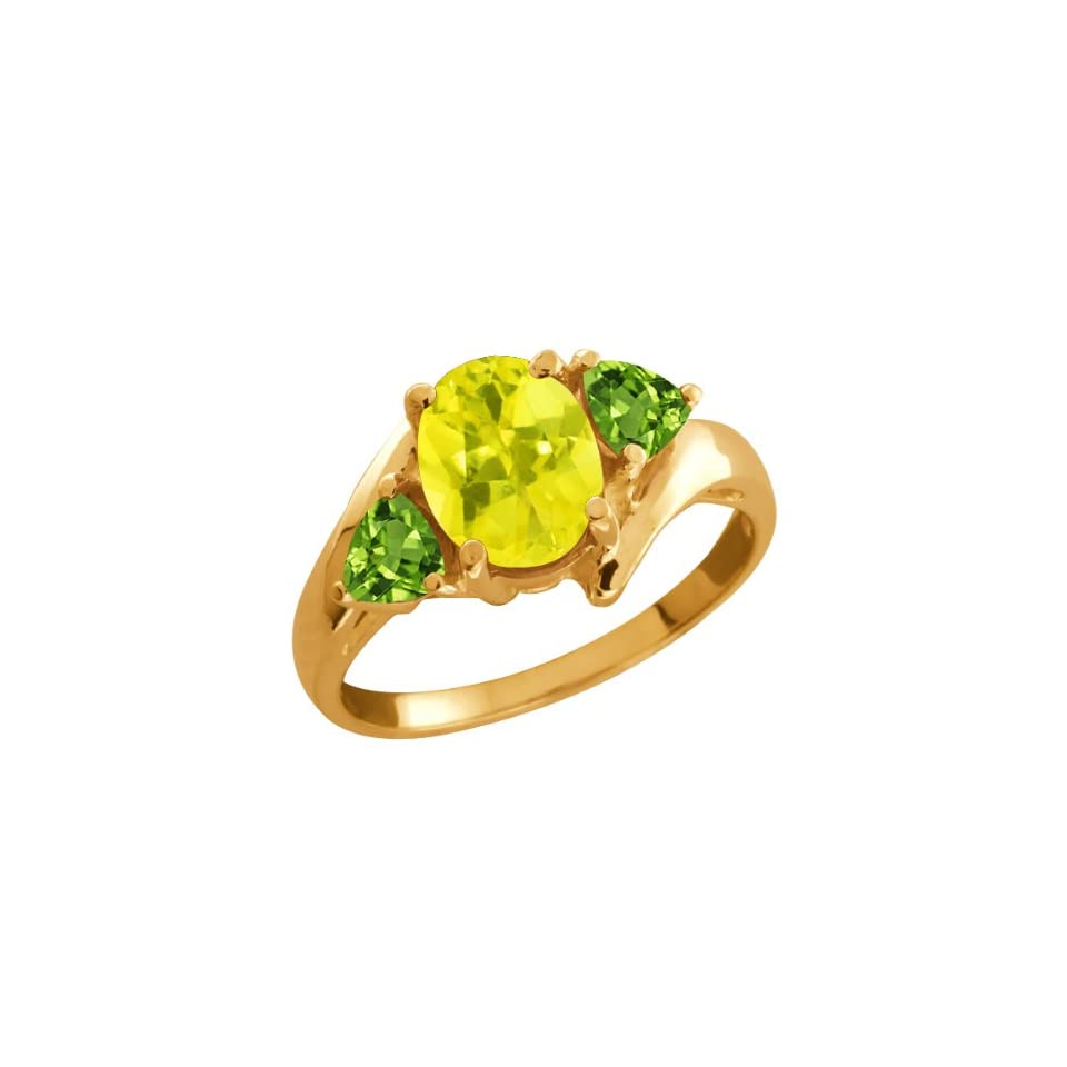 2.12 Ct Oval Canary Mystic Topaz and Green Peridot 14k Yellow Gold Ring