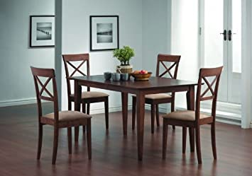 Walnut Dining Table Set 5 Pc Table Chairs Cross Back