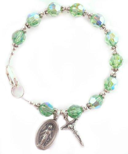 Rosary Bracelet Swarovski Crystal Sterling Silver Birthstone Color Peridot / August