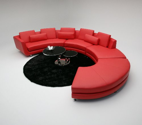 How to A94 Contemporary Red Leather Sectional Sofa - Jose E ...