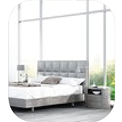 Modern white king-size bed against floor to ceiling window Mousepad