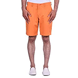 CORTOS Orange 100% Cotton Plain Regular fit casual Solid Short (Size: 34inch)