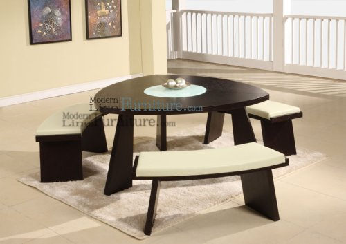 Modern Furniture Triangular Dining Table With A Swivel Mid