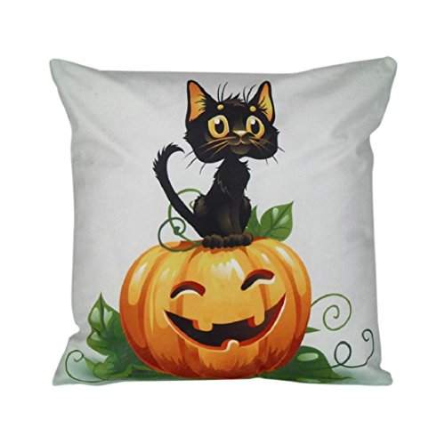 Halloween pumpkin cat pillow cover