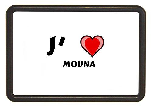 Cadre de photo en couleur marron foncé avec une image rechargeable. Papier: J'aime Mouna (Noms/Prénoms)
