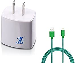 iXCC ® Dual USB 2.4 Amp [12 Watt] SMART White FAST AC Travel Wall Charger with (green) Lightning Cable - ChargeWise (tm) Technology [High Speed] FAST Charging for Apple iPhone 6 / 6 plus / 5s / 5c / 5; ipad Air 2/ Air; iPad mini (Retina Display)/ mini 3; Samsung Galaxy S5 S4 S3; Note 2 and Note 3; the new HTC One (M8); Google Nexus and More