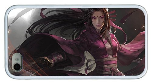 Stylish Pretty Iphone 4S Case Art Fantasy Girl Asian Sword Purple Clothes Tpu White For Iphone 4/4S front-841283