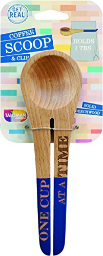 Talisman Designs Coffee Scoop & Bag Clip, Solid Beechwood, Vivid Collection