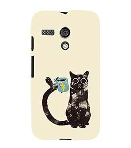 EPICCASE cat with cup Mobile Back Case Cover For Moto G (Designer Case)